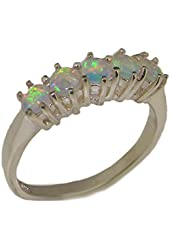 925 Sterling Silver Natural Opal Womens Eternity Ring - Sizes 4 to 12 Available