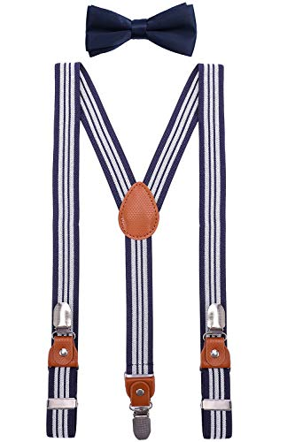 BODY STRENTH Little Boys' Y Back Suspenders and Leather Tie Elastic and Pretied 30 inches, Navy Stripe