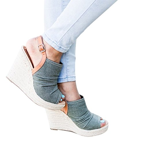 Enjoybuy Womens Espadrille Peep Toe Wedges Ankle Strap Platform Sandals With Ruched Canvas Upper ()