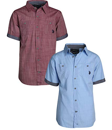 U.S. Polo Assn. Boy\\\'s Short Sleeve Woven Shirt (2 Pack) Burgundy/Vista Blue, Size 14/16'