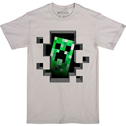 JINX Minecraft Little Boys Creeper Inside T-Shirt (Silver, Juvy Large (7))