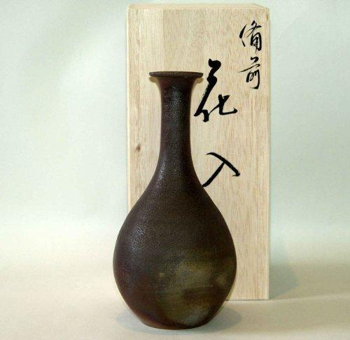 備前焼 つる首花入(桟切) 【花器 花入 花瓶 花びん 一輪挿し】 B00CEPX8TO