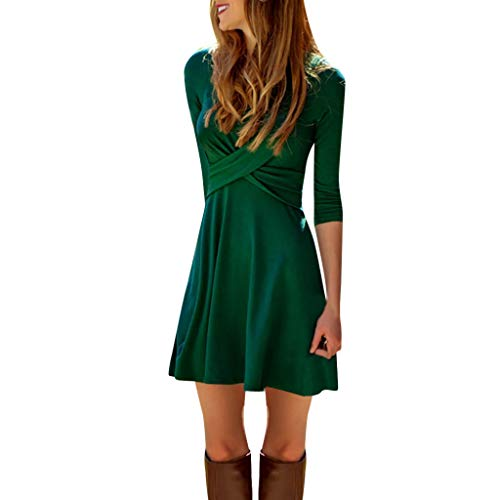 Women Sexy Cross Front Pleat V-Neck Mini Dress Ladies Casual Pure Color Long Sleeve Slim Waist Dress Green ()