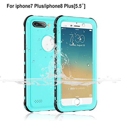 Garcoo Waterproof Case iPhone 7 Plus / 8 Plus [5.5 inch], IP68 Certified Fully Sealed Underwater, Shockproof Dustproof Snowproof, Suitable Outdoor Sports (Grass Blue)