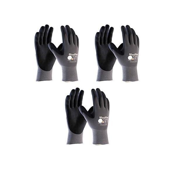 Maxiflex 34-874 Ultimate Nitrile Grip Work Gloves, Large, 3 Pair 1