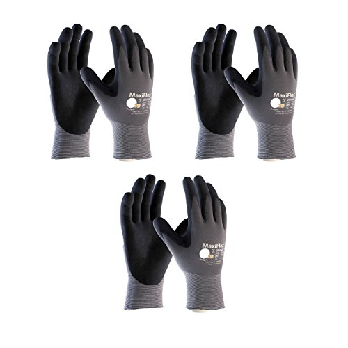 Maxiflex 34-874 Ultimate Nitrile Grip Work Gloves, Large, 3 Pair ()