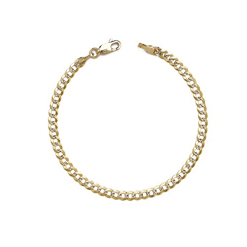 Gold Two Bracelet Tone 10k (9 Inch 10k Two-Tone Gold Curb Cuban Chain Bracelet and Anklet with White Pave, 0.1 Inch (2.5mm))