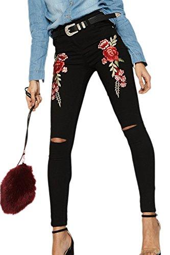 Les Femmes Dchir Trou Denim Jeans Broderie lastique Floral Jambires Black
