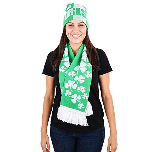 [Saint Patrick's Day Costume Accessory Irish and Shamrock Scarf and Hat Set] (St Patrick Saint Costume)