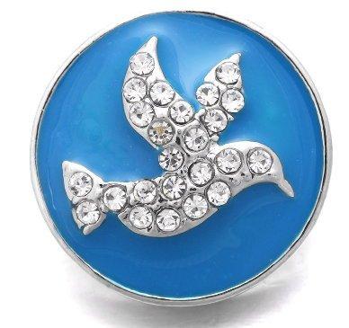 (Snap button CZ Peace Dove 18mm charm chunk interchangeable)