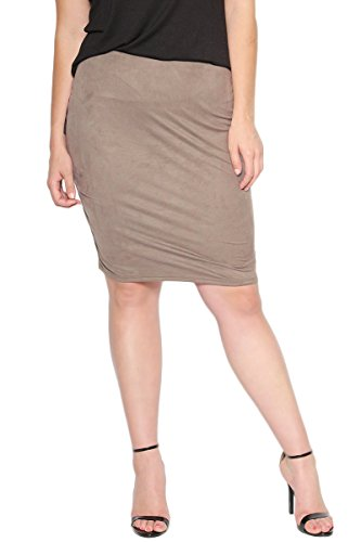 TheMogan Women's Comfort Stretch Faux Suede Knee Pencil Skirt Mocha 2XL