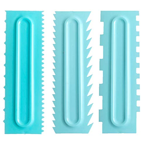 Loneflash 3PCS Blue Cake Scraper Decorating Comb Icing Smoother Fondant Spatulas Cake Edge Smoother Cream Scraper Cake Tools Pastry Cutter Baking Tools Kitchen Baking Mold DIY Tool Pack (Pastry Tools And Equipment And Their Uses)