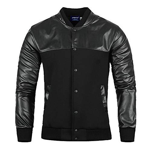 - QBQCBB Men's Autumn Winter Coat Faux Leather Long Sleeve Solid Stand Zipper Jacket (Black,XL)
