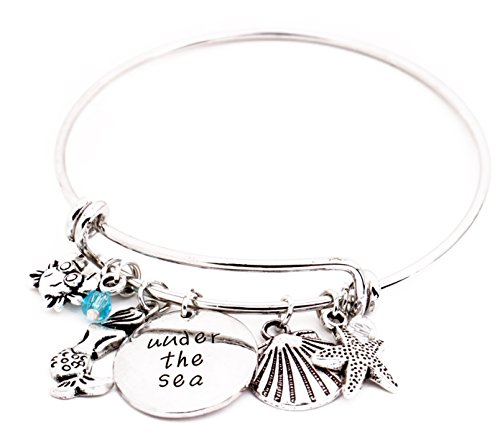 Little Mermaid Message Expandable Silver Bracelet Bangle Under The Sea Mermaid, Ariel, Ocean Jewelry Crab Starfish Shell Crystals DIY Bracelet Christmas for $<!--$15.99-->