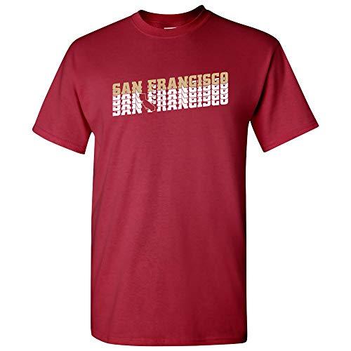 San Francisco Retro Repeat - Sports Team City Pride Tailgating T Shirt - 2X-Large - Cardinal (49ers Mens Coaches San Francisco)