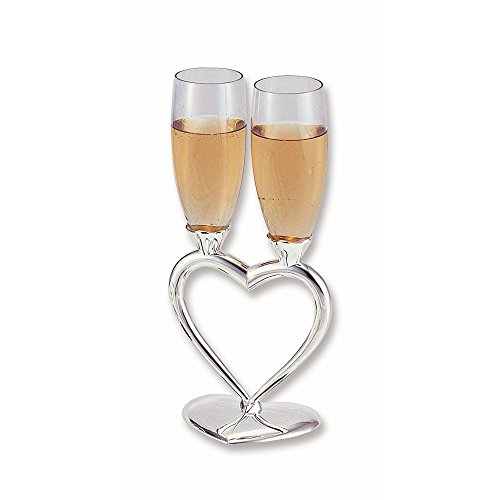 Silver Plated Heart Goblet - Silver-plated Heart Stand Glass Toasting Goblets