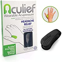 Aculief - Award Winning Natural Headache, Migraine and Tension Relief - Wearable Acupressure - Stress Alleviation - Simple, Easy & Effective - (Black)