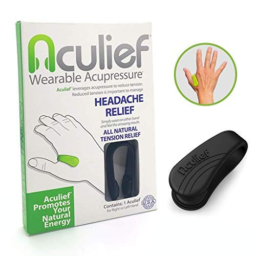 Aculief - Award Winning Natural Headache, Migraine and Tension Relief - Wearable Acupressure - Stress Alleviation - Simple, Easy & Effective - (Black) from Aculief