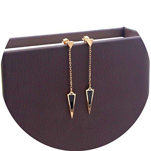 WaMLFac Titanium Steel Rose Gold Stud Earring Black Triangle Dangle Tassel Drop Hollow Earrings For Women