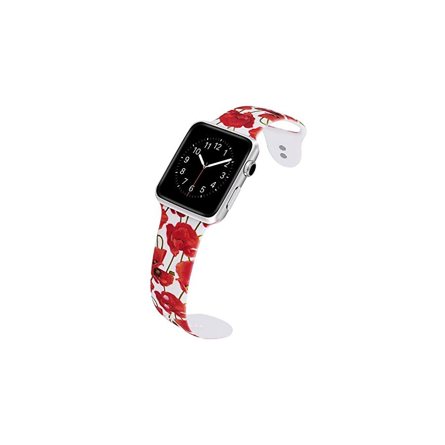 VODKE for Apple Watch Bands, Soft Silicone Strap Replacement iWatch Wristbands for Apple Watch Sport Series 3 Series 2 Series 1 Type 11 38mm S/M