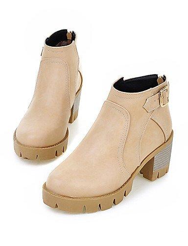 La Xzz noir Mode Jaune Uk7 Femme us9 Bas Cn41 Black bottes Gris À similicuir Eu40 Amande décontracté bottes Chaussures talon r7qAUPr