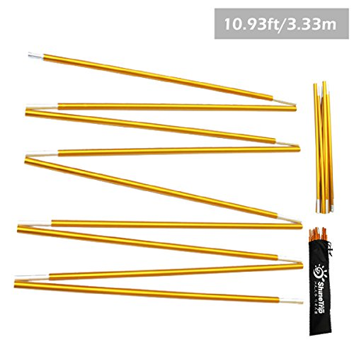 Azarxis Tent Pole Repair Kit Splint Support Kit Replacements Aluminum Rod Adjustable Replacement Poles Accessories for Camping Hiking Backpacking Tent (Gold - 10.92ft)