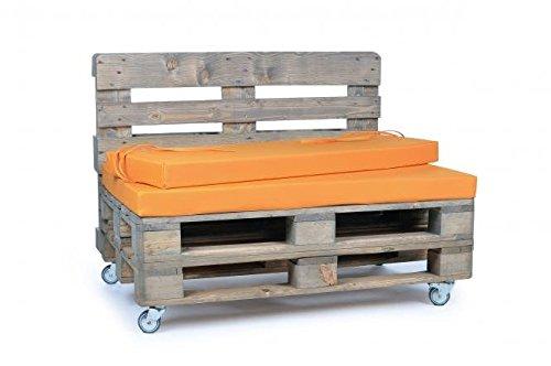 Palettenkissen, Gartenmöbel Auflagen, Sitzbankauflage, Matratzenauflagen auch m. Rückenlehne bzw. Dekokissen in Nylon, orange, wasserabweisend und strapazierfähig