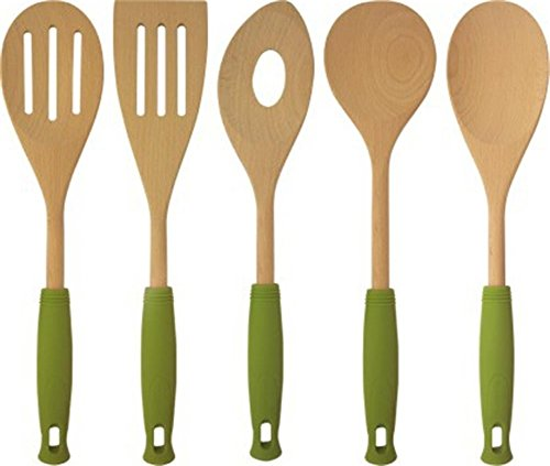 Price comparison product image 5 Piece Bamboo Spoons Cooking Utensils - Wooden Spoons and Serving Utensils Set - Bamboo Wood Nonstick Cooking Spoons for Kitchen with Green Silicone Handles