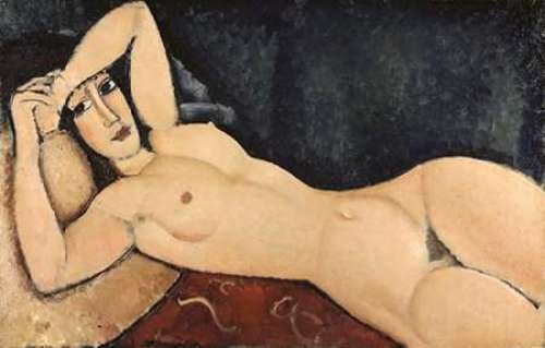 "Reclining Nude by Amedeo Modigliani - 10"" x 16"" Giclee Canvas Art Print"