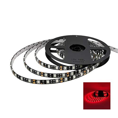YUNBO LED Strip Lights Red 620-625nm Black PCB Board Waterproof 12V Flexible LED Tape Lights Cuttable 300 Units SMD 5050 LED Lighting 16.4ft/5m