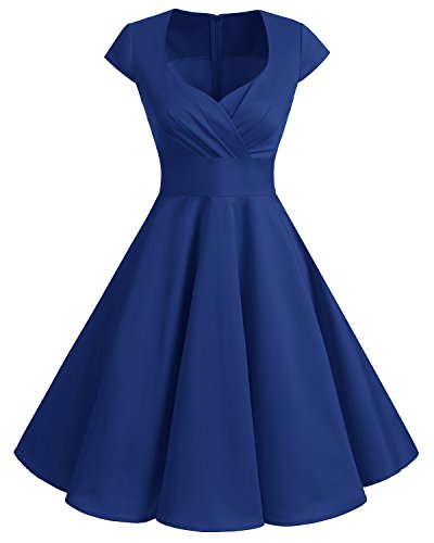 Bbonlinedress Women Short 1950s Retro Vintage Cocktail Party Swing Dresses Royal Blue XL -