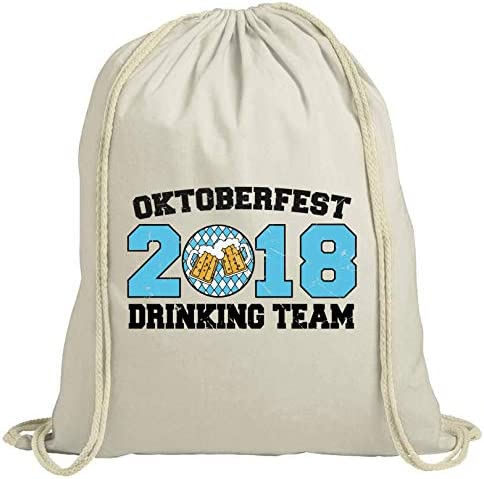 ShirtStreet Gaudi Wiesn Bier Party natur Turnbeutel Rucksack Gymsac Beer - Oktoberfest Drinking Team 2018