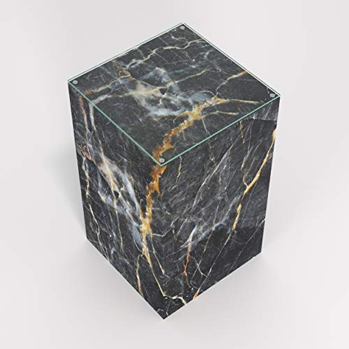 Marquina Black Marble - Pillar, Pedestal Side, End Table (W: 11.75