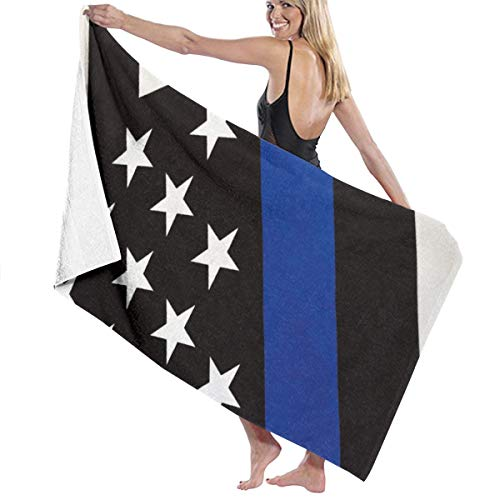 - NiYoung Bath Towels, Thin Blue Line Flag Wash Cloths 100% Polyester Cotton Hand Towel High Absorbency Fitness Towel Quick Dry Bath Sheets for Home Hotel Spa (32x51 inch)