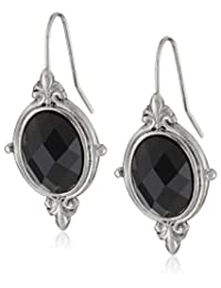 "1928 Jewelry""Jet Essentials"" Silver-Tone Jet Faceted Oval Drop Earrings"