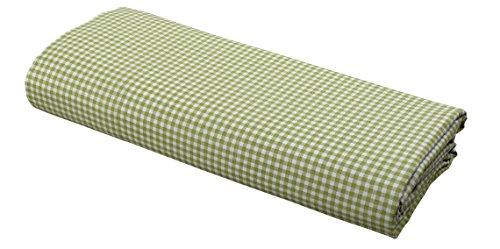 FLAT Sheet by DELANNA 100% Cotton Percale Weave Top Sheet Crisp, Comfortable, Breathable, Soft and Durable (Twin, Lime Gingham) (Vintage Sheet Flat)
