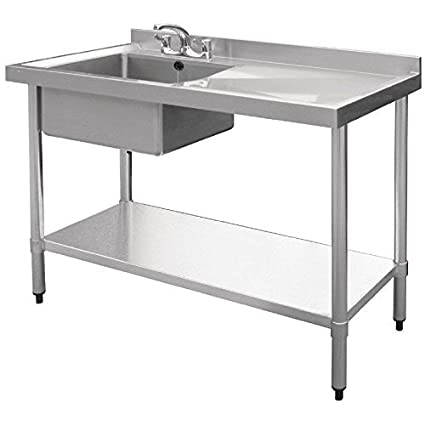 Custom Stainless Steel Single Sink Bowl Unit with Scrap Shoot and Hose Spray Shower Tap (Size : 1650x700x850 mm )
