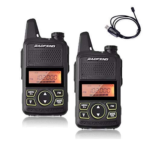 Baofeng T1 Mini Walkie Talkies UHF Two Way FRS/GMRS Handheld radios Rechargable with Programming Cable, Headsets (1 Pair)