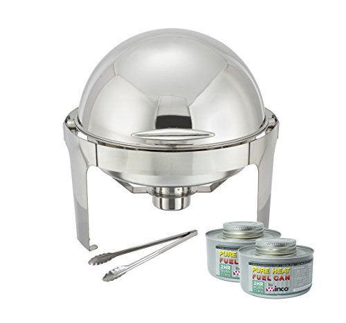 (Winware 6 Quart Stainless Steel Round Roll Top Chafer, Chafing Dish Set with 2 Chafing Dish Fuel and 16-Inch Stainless Steel Multi-Function)