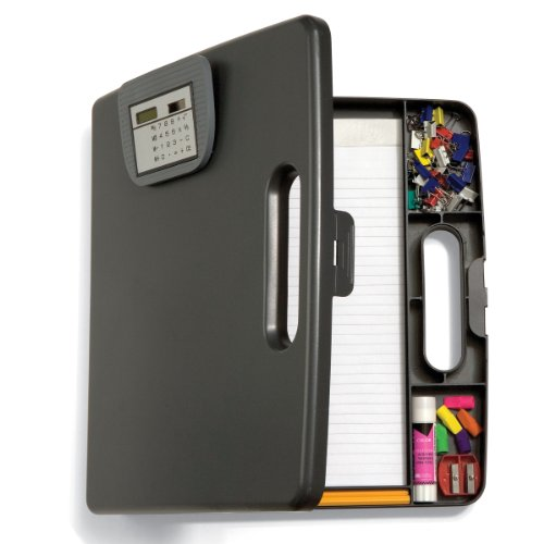 Officemate Portable Clipboard Case with Calculator, Gray (83372)
