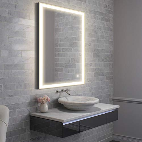 GETINLIGHT LED Wall Mounted Lighted and Defog Vanity Mirror with Touch Sensor -