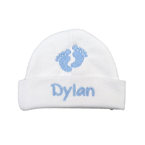 Avas Miracles Personalized Baby boy hat with Embroidered Footprints - Preemie boy hat, Newborn boy hat, Baby Footprints hat