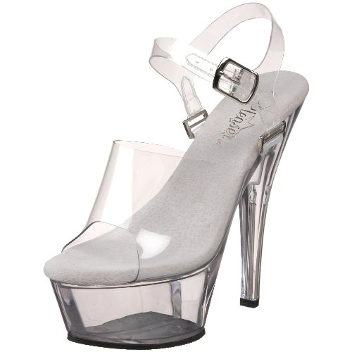 Pleaser Women's Kiss-208DAS Platform Sandal,Clear,6 M (U Of C Halloween Party)