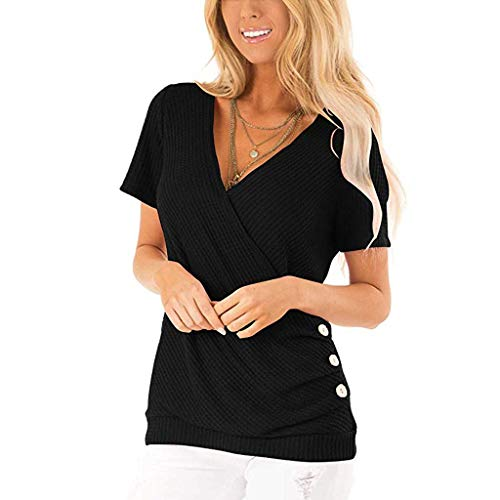 - Aniywn V-Neck Women's Button Short Sleeve Casual Loose Plain T-Shirts Tunic Tops Blouse S-XXL Black