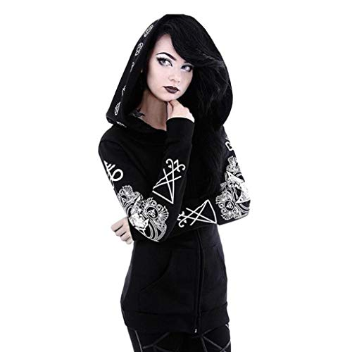 FengGa Women Gothic Punk Long Sleeve Hooded Print Black Cardigan Jacket Rune Coat Plus Size