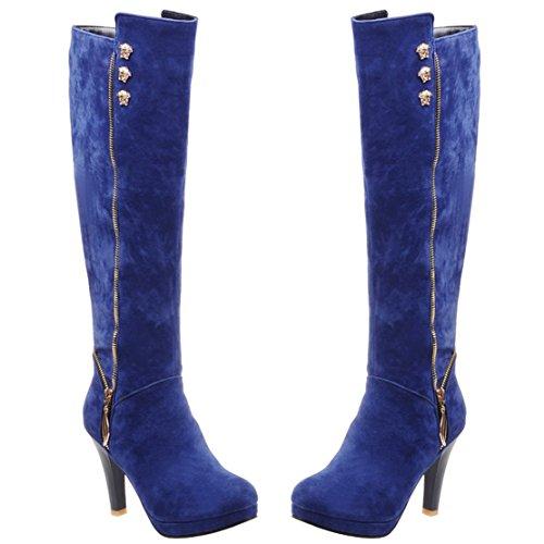 AIYOUMEI Damen Stiletto Kniehohe Stiefel mit Reißverschluss und 9cm Absatz High Heels Knee High Boots Blau