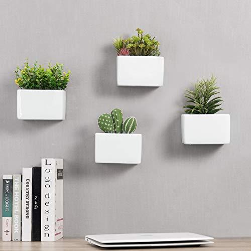 MyGift Modern White Ceramic Wall Hanging Succulent Herb Planter Box, Set of 4