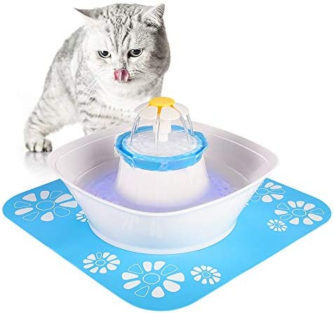 Beacon Pet Fountain, LED 84oz 2.5L Automatic Cat Water Fountain Dog Water Dispenser with 1 Silicone Mat for Cats, Dogs, Multiple Pets