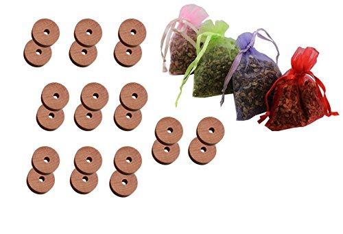 28 tlg. Kombi Lavendelsäckchen und Mottenstop / Mottenschutz Set aus naturbelassenem Zedernholz ohne Chemie . Motten Bekämpfung Umweltgerecht . Holz Schrankduftscheiben und Lavendel Säckchen