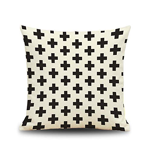 Littay Pillowcase 18inch x 18inch,Geometry Pattern Cotton Linen Cushion Cover Throw Pillow Case Sofa Home Decor -